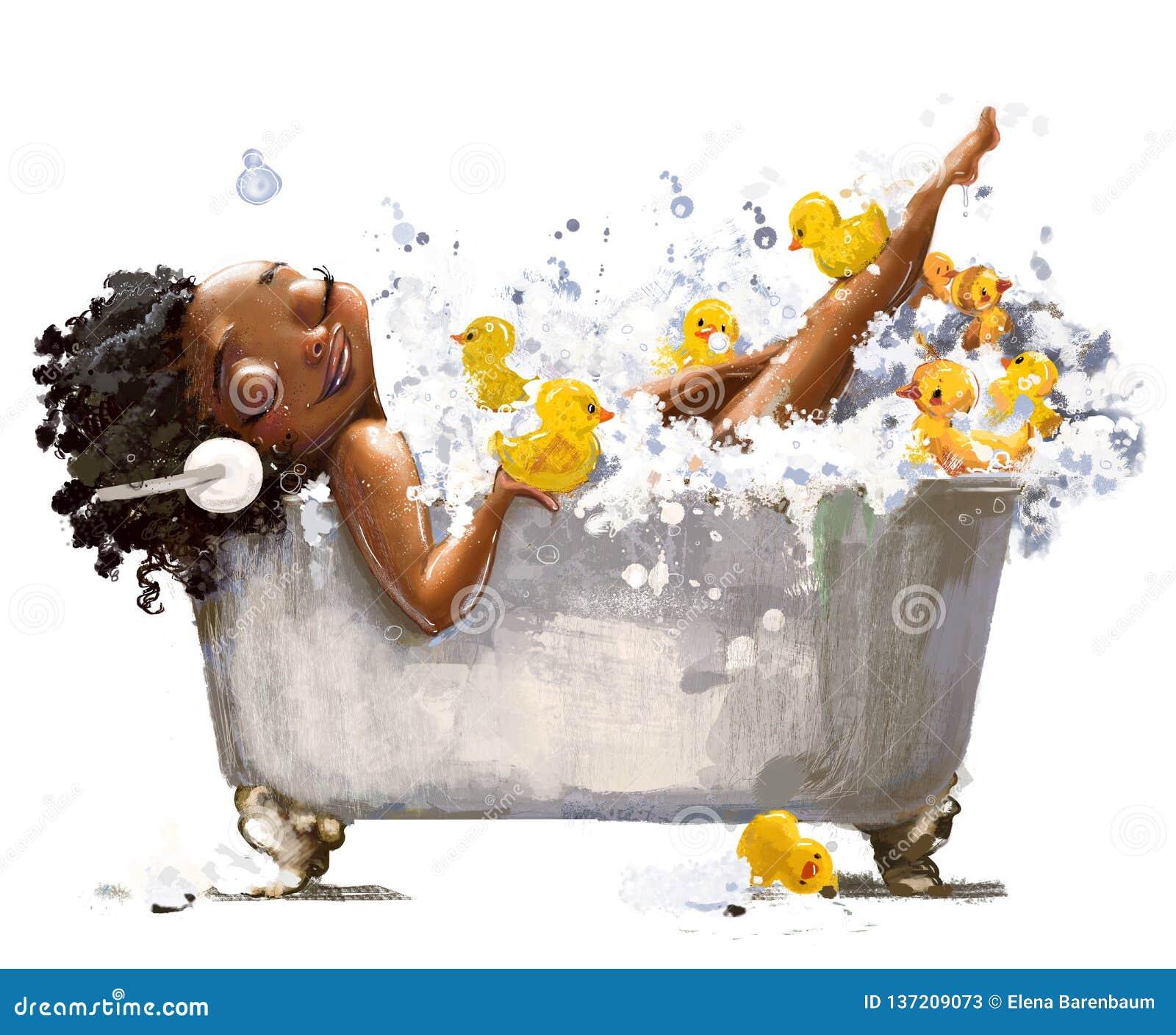 Молодая африканская женщина в ванне