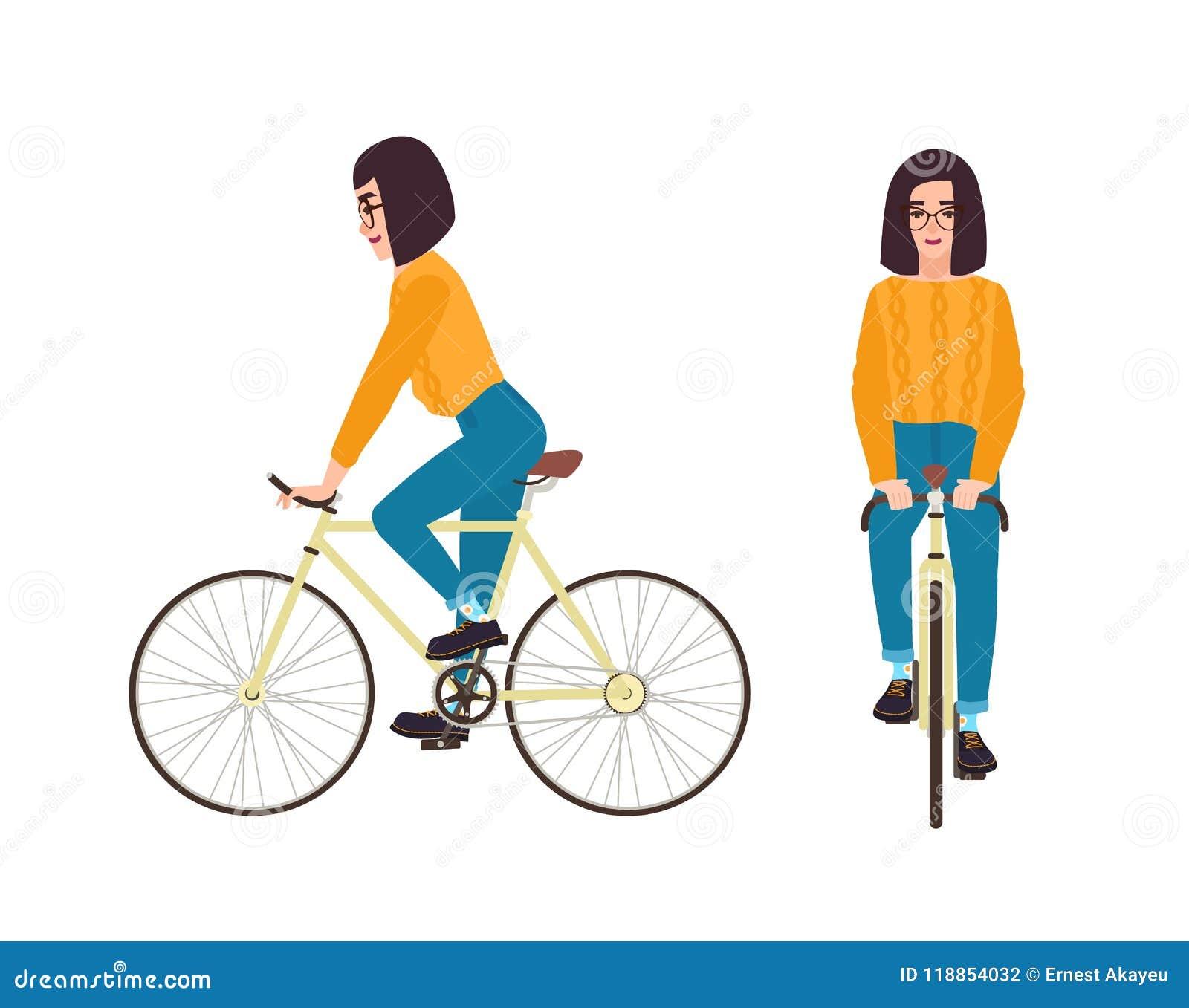 Молодая женщина или девушка одели в велосипеде катания вскользь одежды Шлямбур и джинсы плоского женского персонажа из мультфильм