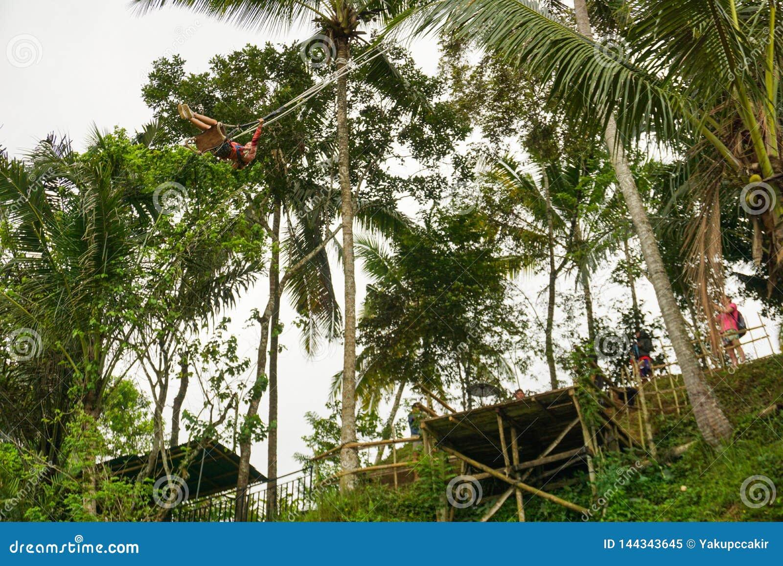 Молодая женщина отбрасывая в джунглях под полями риса террасными, Tegallalang, Ubud, Бали, Индонезии