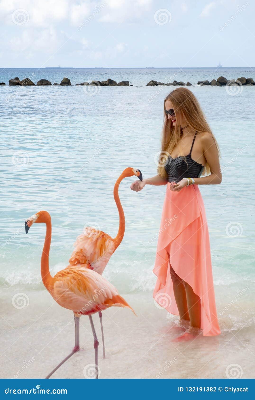 Молодая женщина с длинными светлыми волосами в черном бикини и розовом обруче кормить розовые фламинго на пляже #2