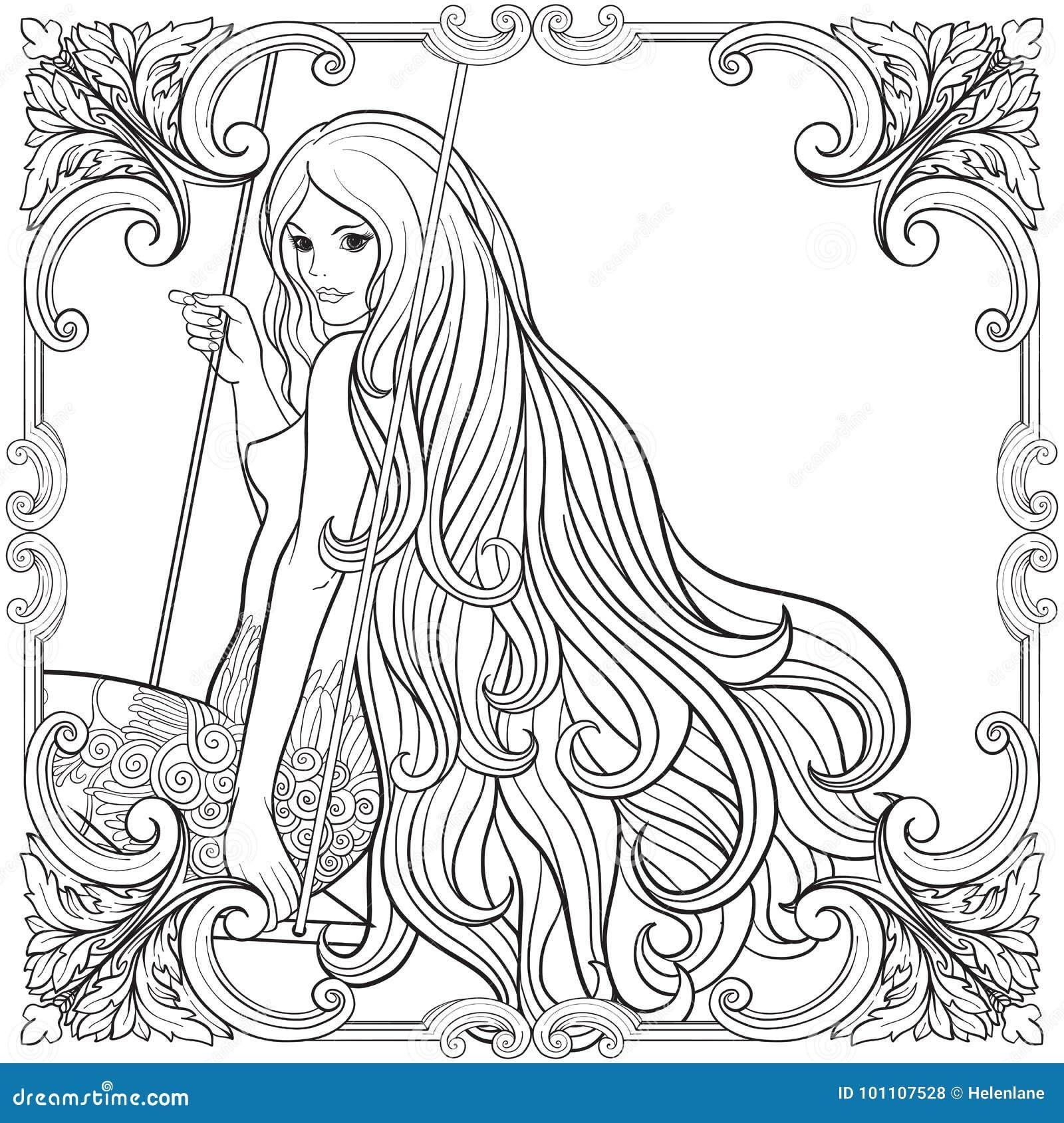молодая красивая девушка с длинными волосами на качании в