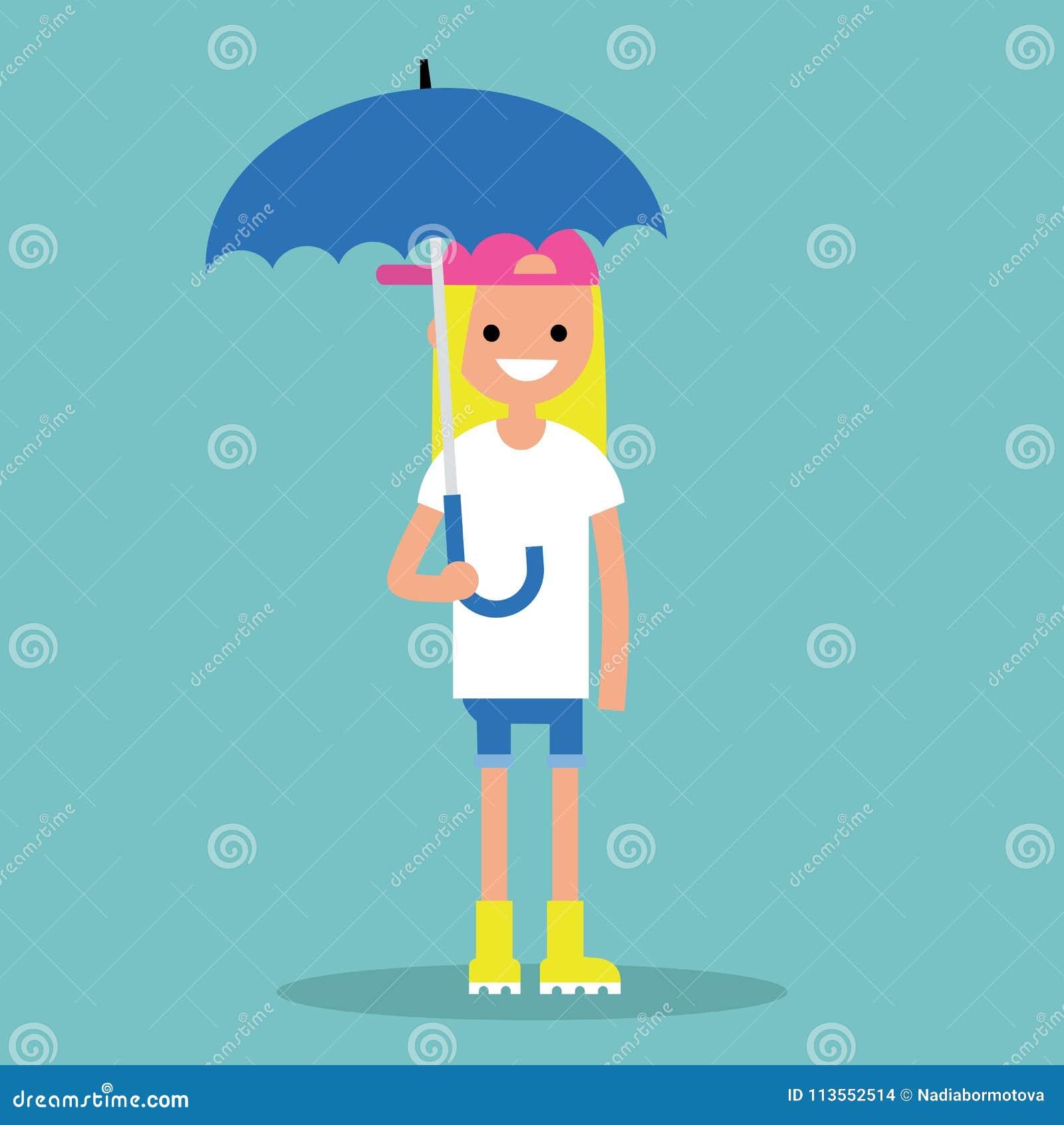 Молодая усмехаясь девушка при зонтик нося желтые резиновые ботинки/f