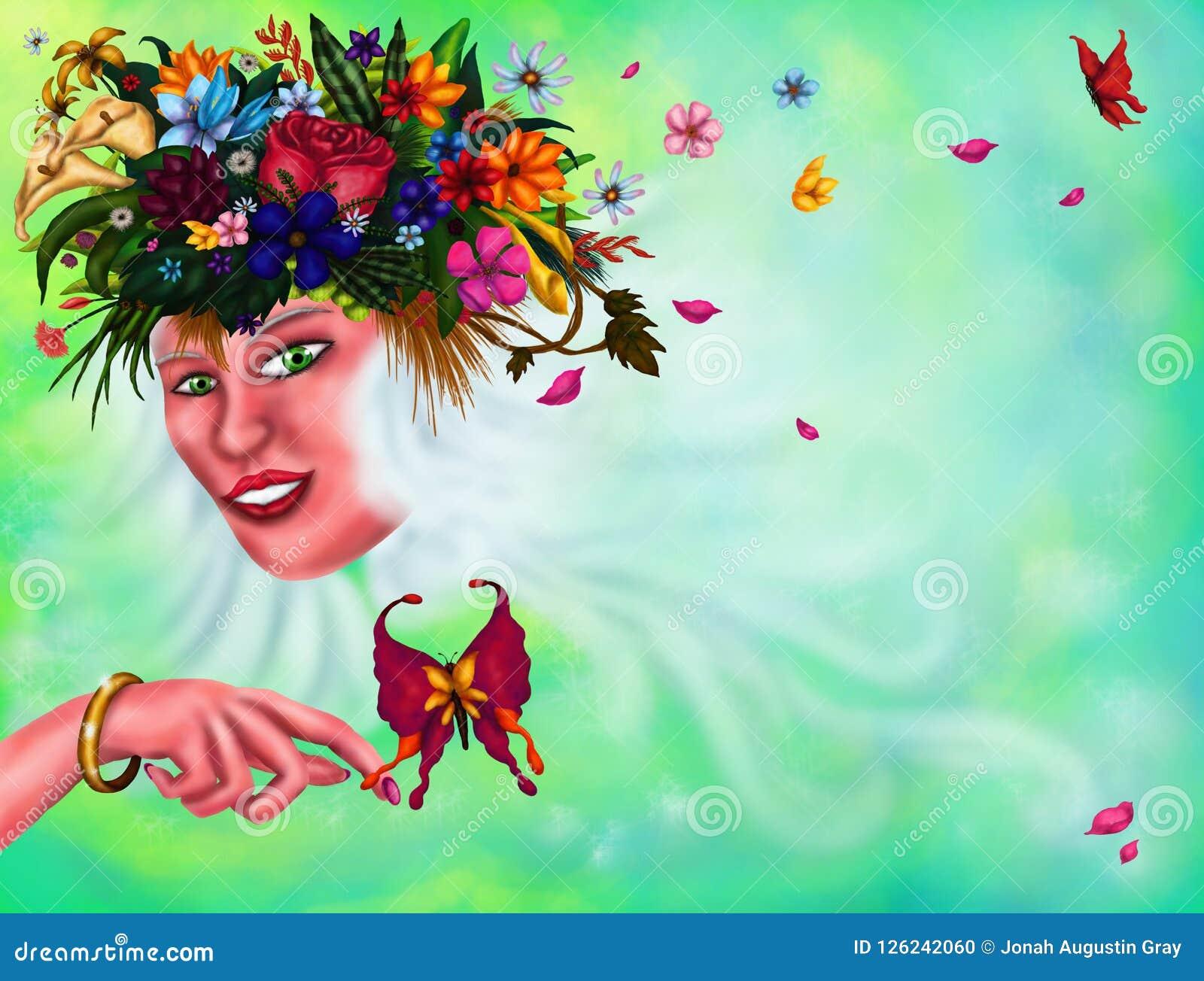 Молодая энигматичная женщина с пуком цветков и заводов в ее длинной женщине белых волос волшебной, 2018