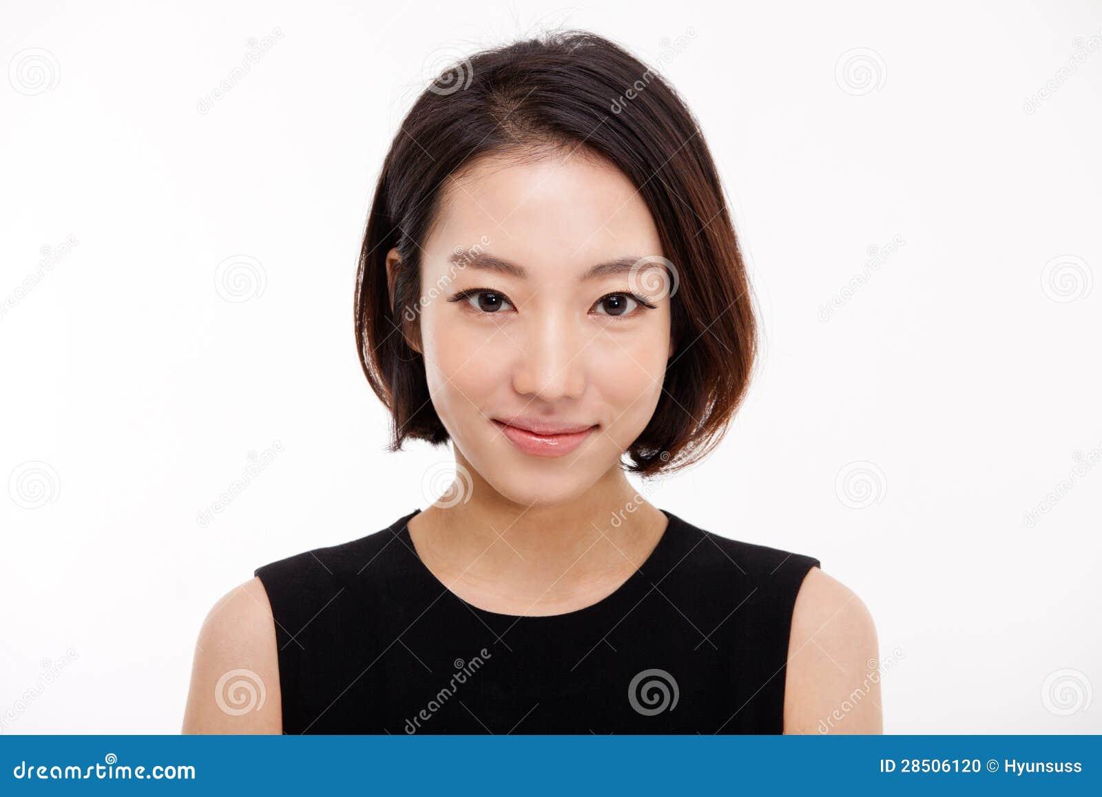 Молодой азиатский милый конец женщины дела вверх по портрету.