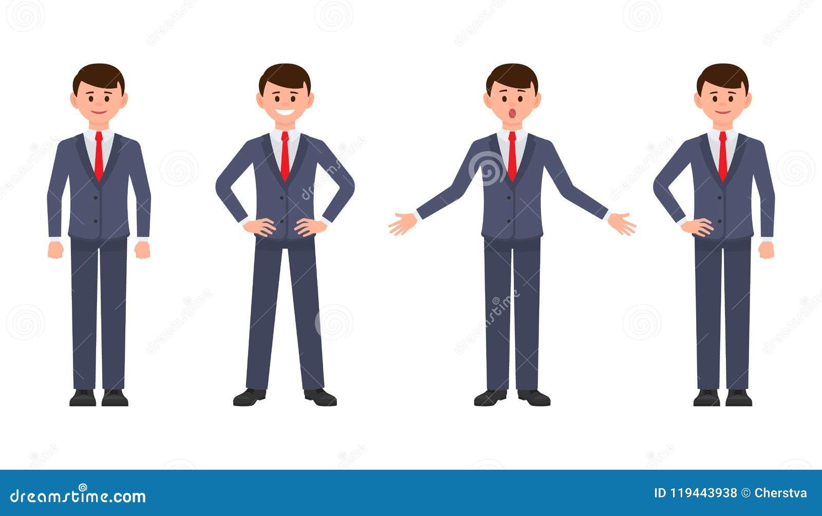 Молодой бизнесмен в персонаже из мультфильма синего костюма Vector иллюстрация умного мужского клерка в различных представлениях