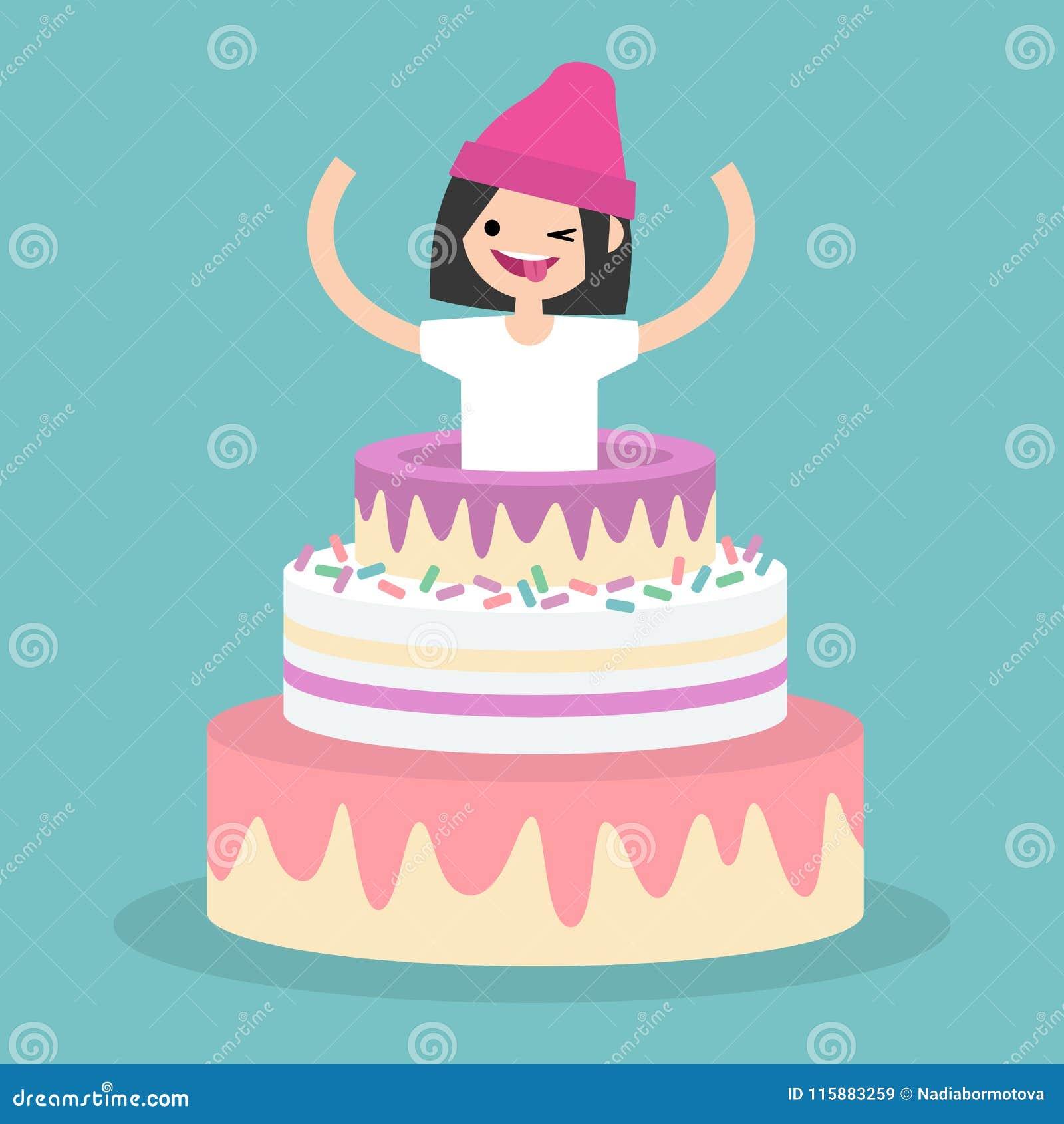 Молодой женский характер скача из торта/плоско editable vec