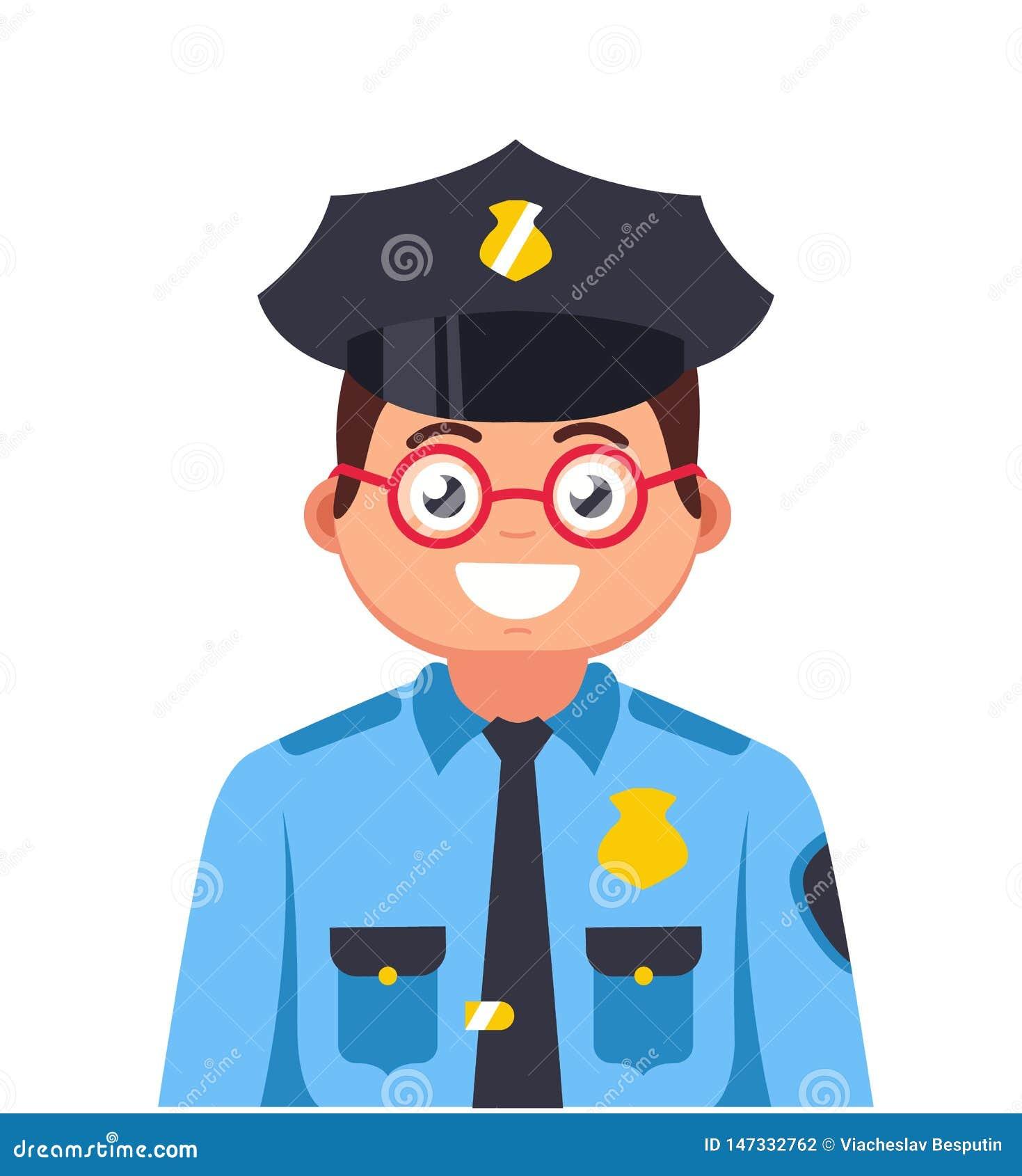 Молодой полицейский с усмехаться стекел
