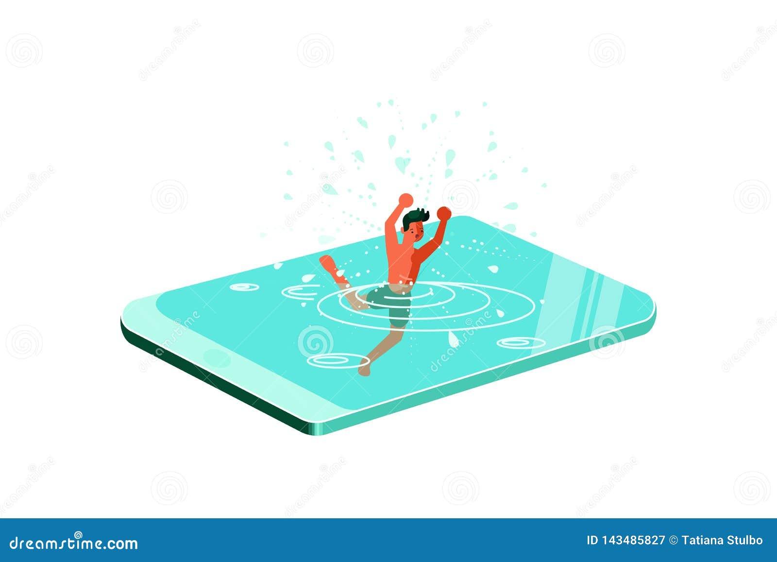 Молодой человек потопленный в смартфоне