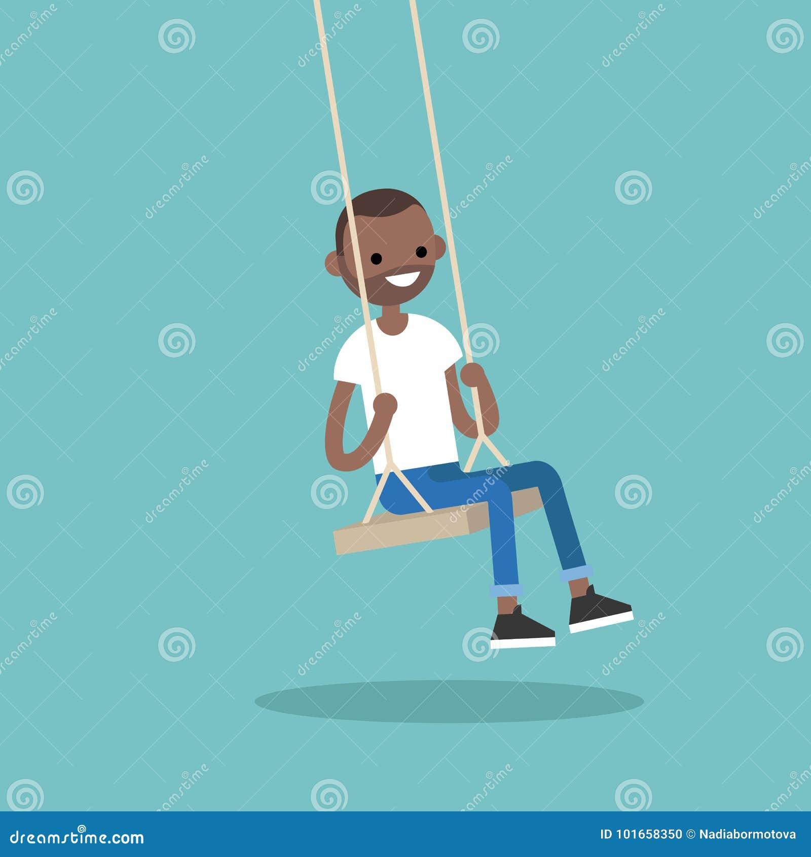 Молодой черный парень сидя на качании/плоско illu