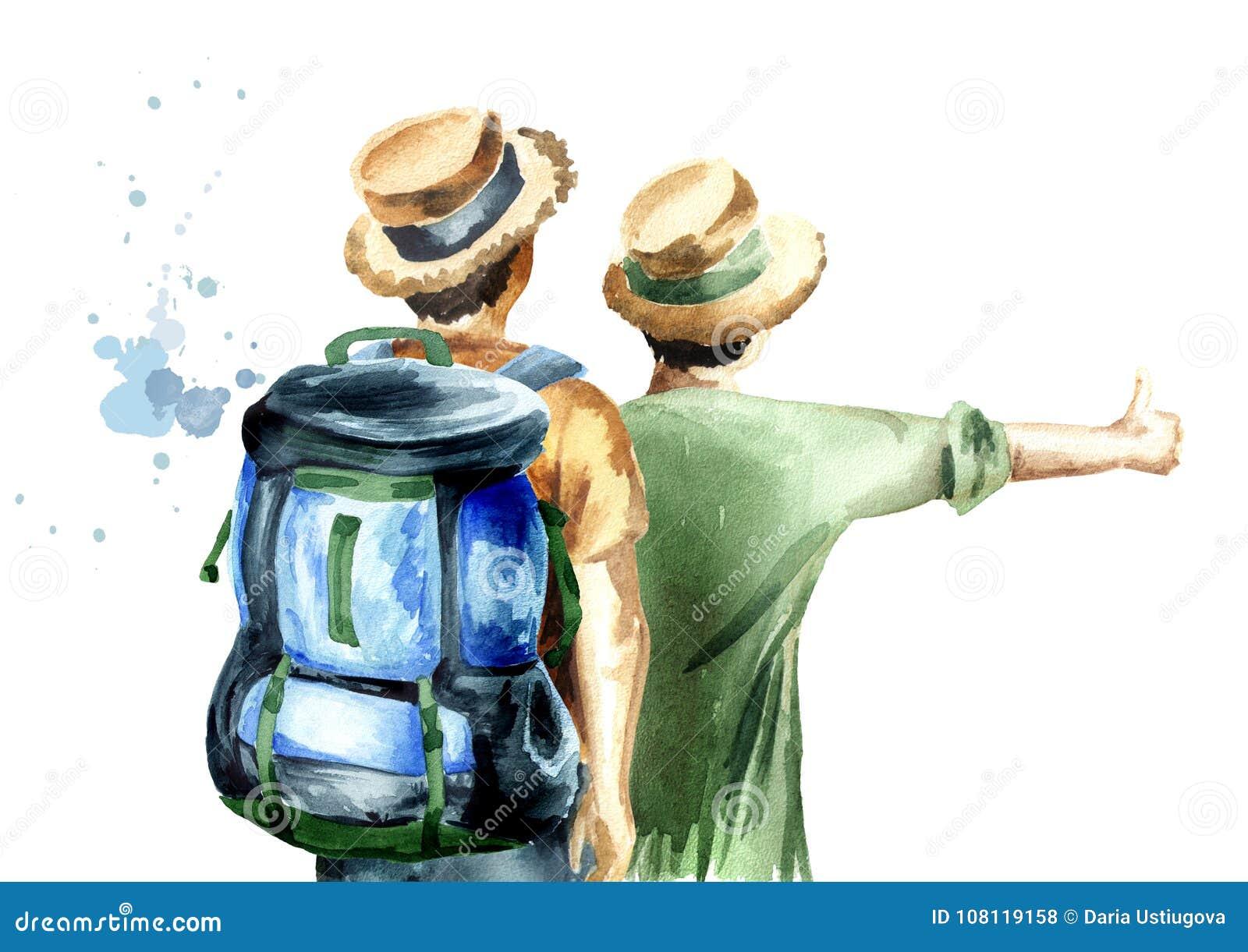 Молодые пары hikers, автостопщик, изолированный на белой предпосылке Иллюстрация акварели нарисованная рукой