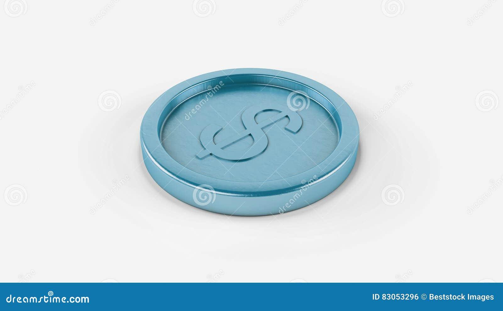 Монетка металла высокого разрешения горизонтальная сияющая небесно-голубая