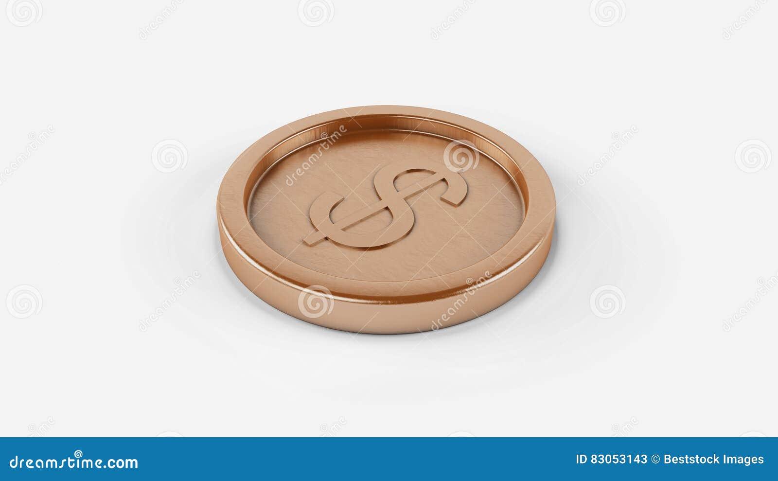Монетка металла высокого разрешения оранжевая