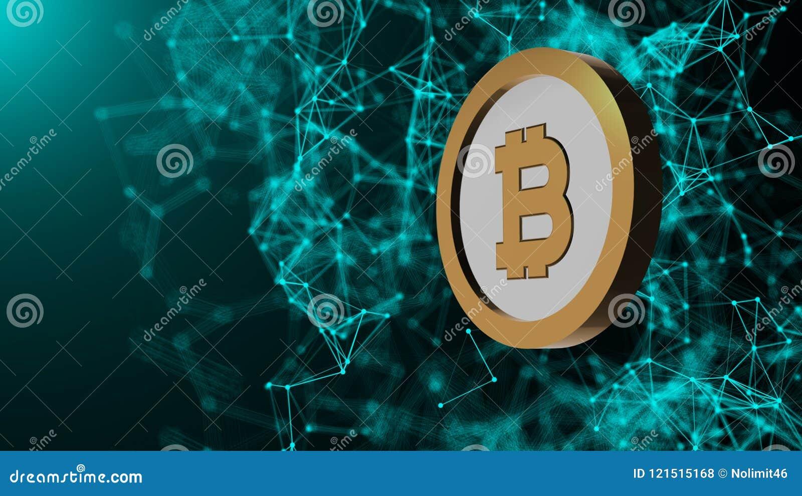 Монетка Bitcoin и много сетевых подключений, компьютер произведенная предпосылка абстрактной технологии, 3d представляют