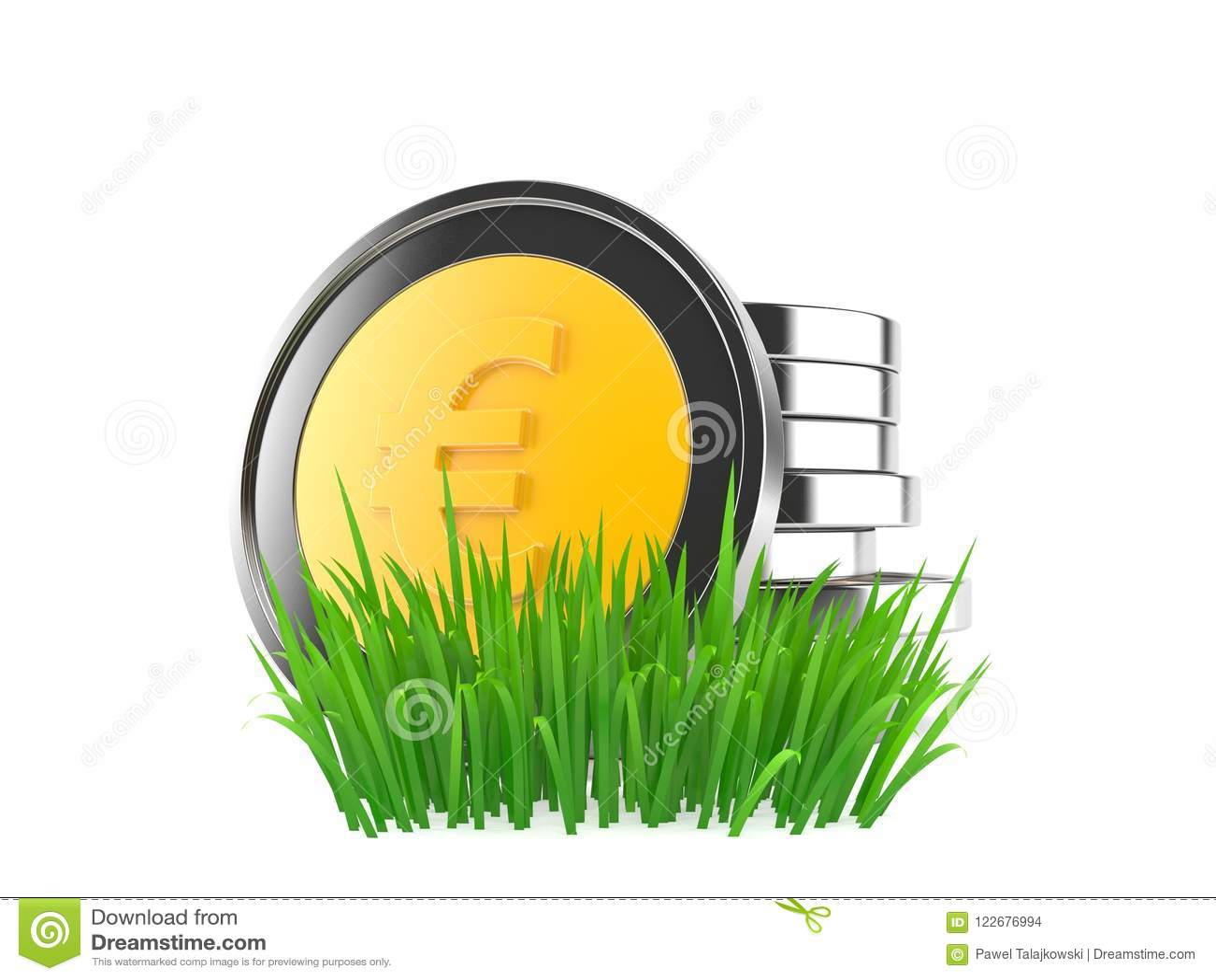 Монетки евро на траве