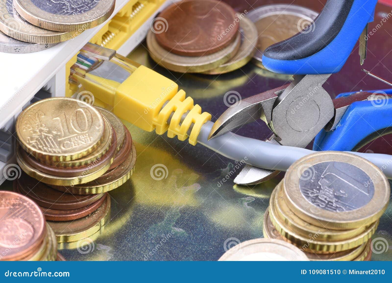 Монетки и маршрутизатор интернета, оплаченный доступ к сети