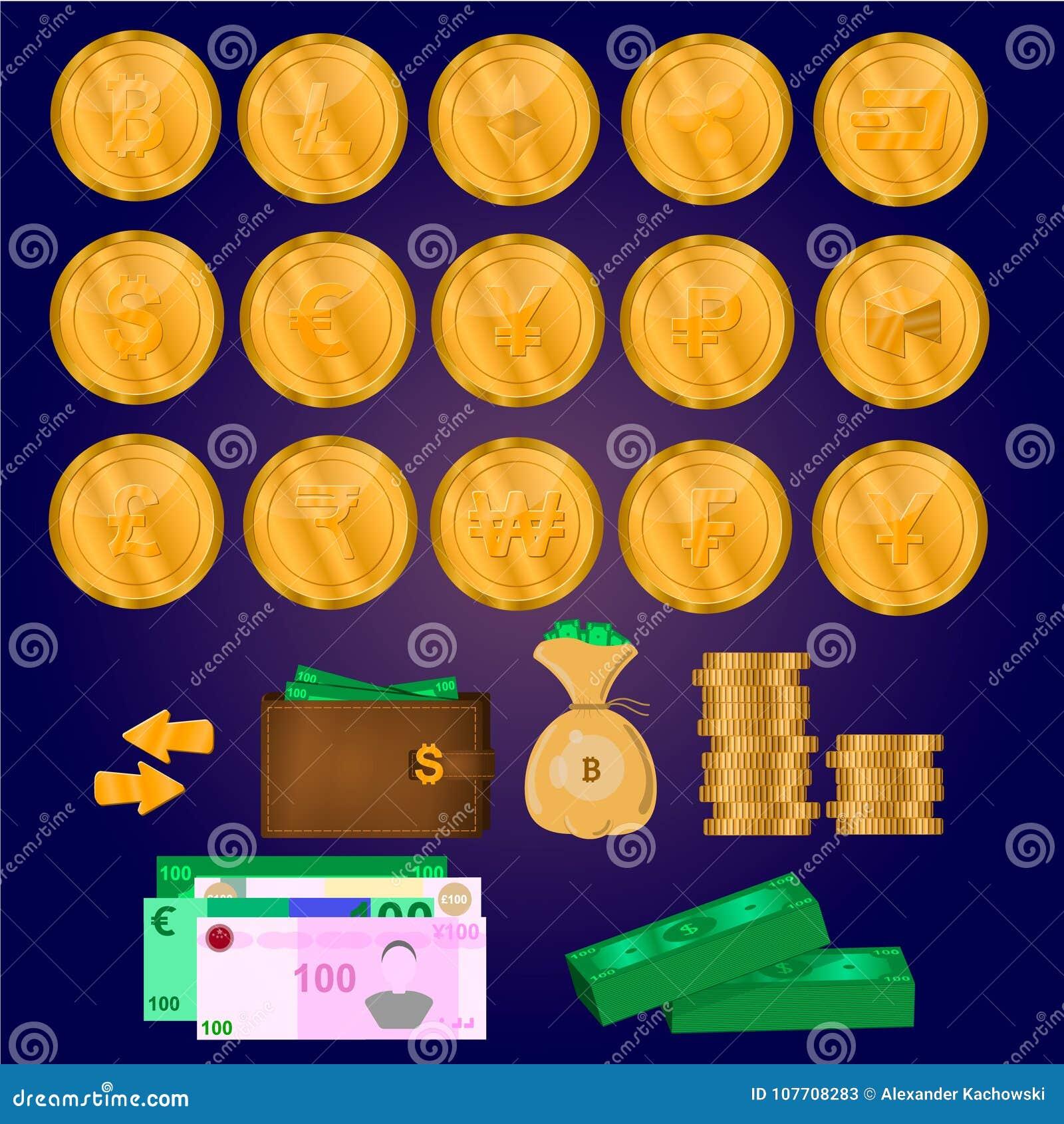 Монетки Cryptocurrency, деньги, комплект дела