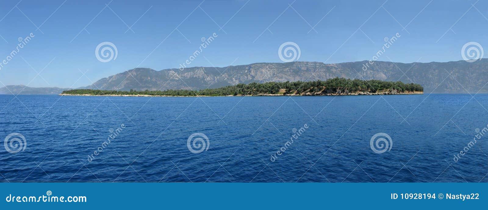 море панорамы острова в Эгейском море
