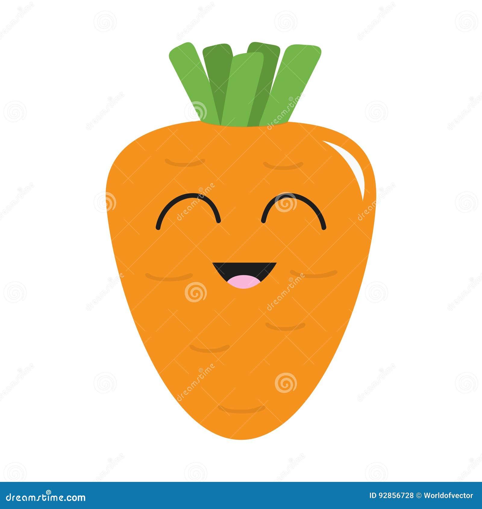 Морковь с значком листьев Померанцовый цвет Vegetable собрание Еда свежей фермы здоровая усмехаться стороны Милый персонаж из мул