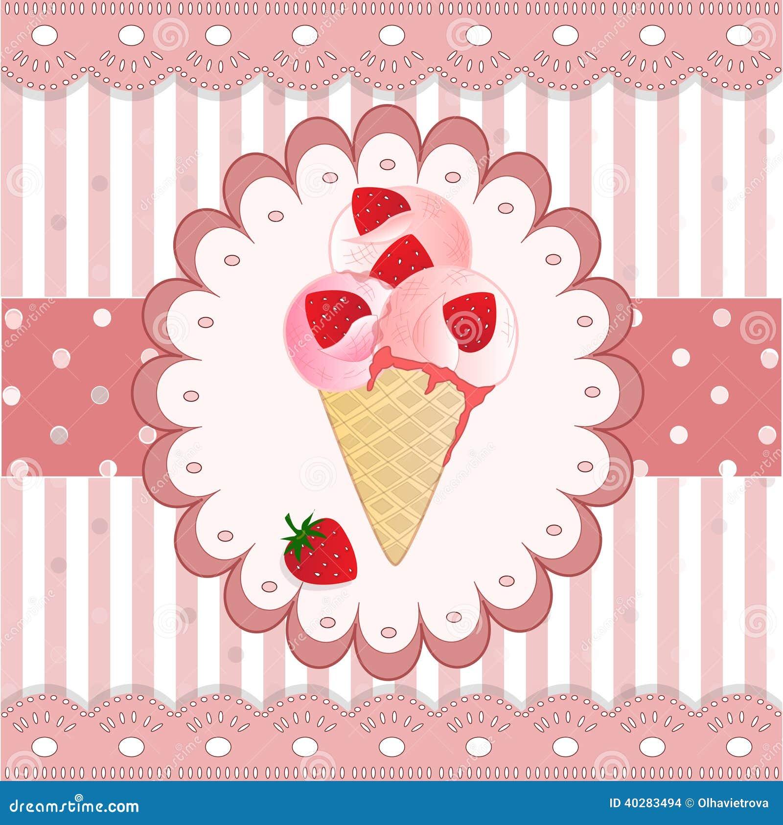 Мороженое клубники на розовой предпосылке