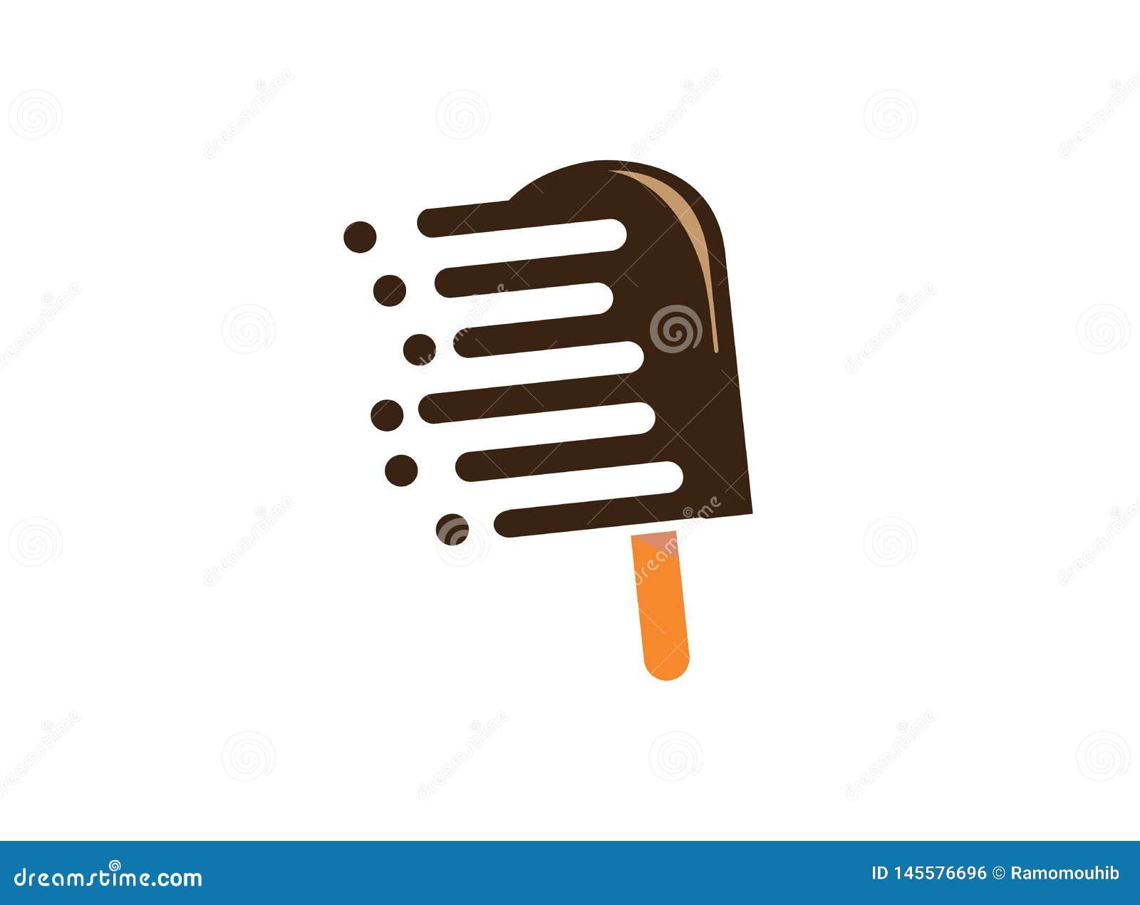 Мороженое с шоколадом для иллюстрации дизайна логотипа, значка скорости