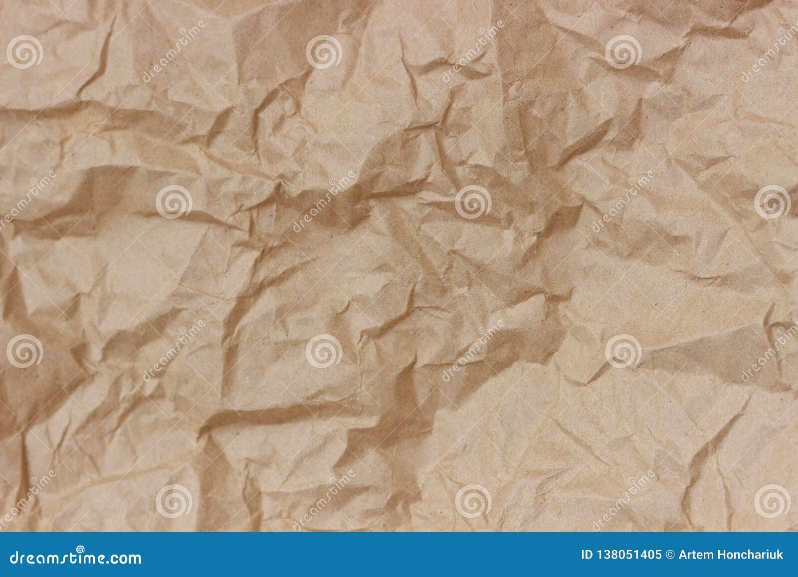 Морщинка Брайна рециркулирует бумажную предпосылку скомканная бумажная текстура Текстура rumpled старого бумажного конца-вверх