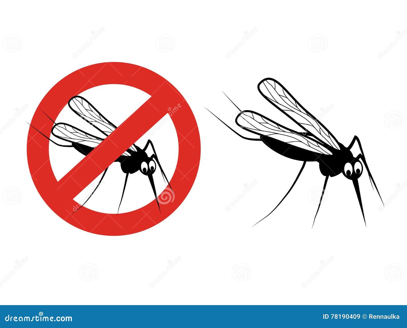 Москит на белой предпосылке Силуэт мошки Символ насекомых летания стопа Знак запрета на репелленте москита