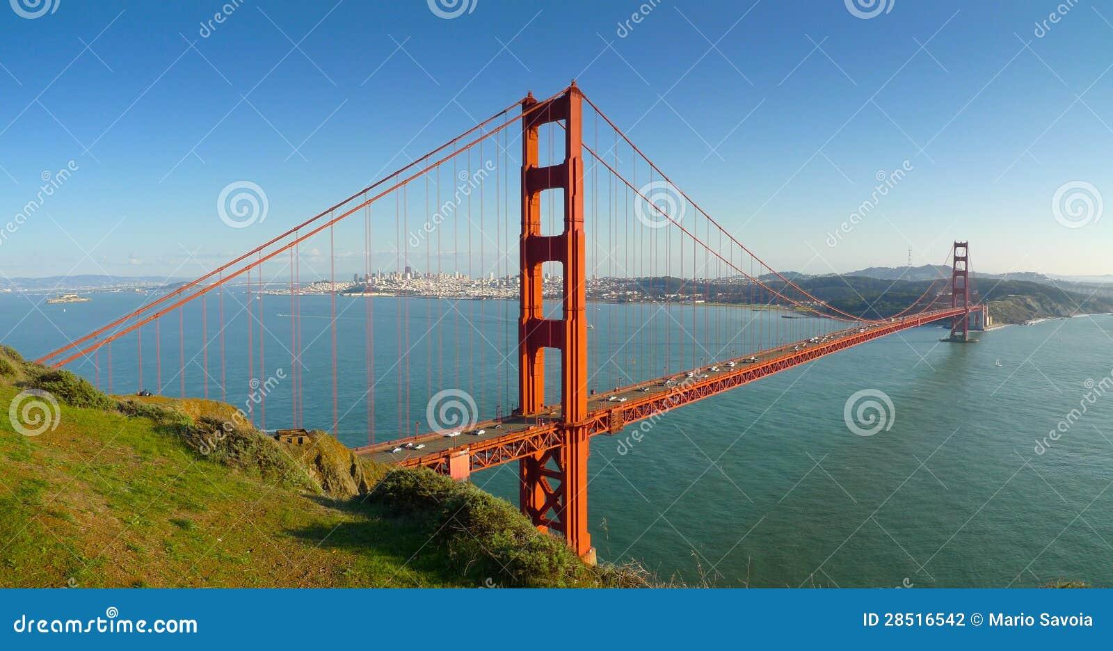 Мост золотистого строба Сан-Франциско панорамный