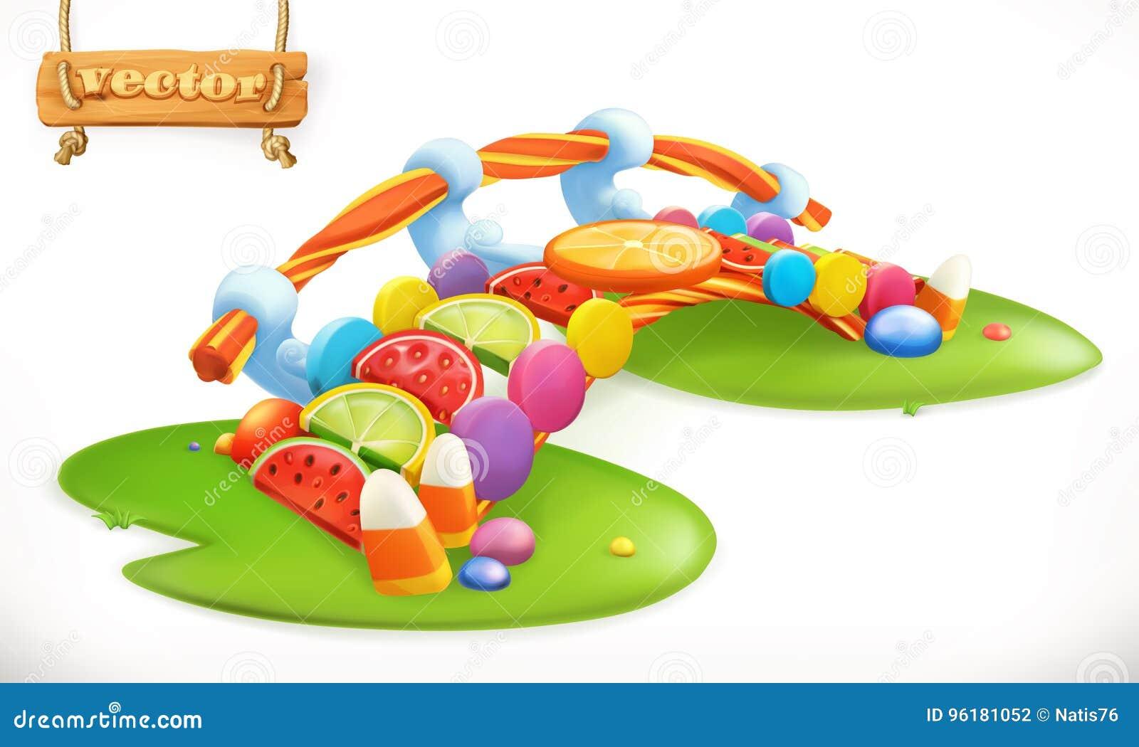 Мост конфет Сладостная земля, значок вектора конфеты плодоовощ