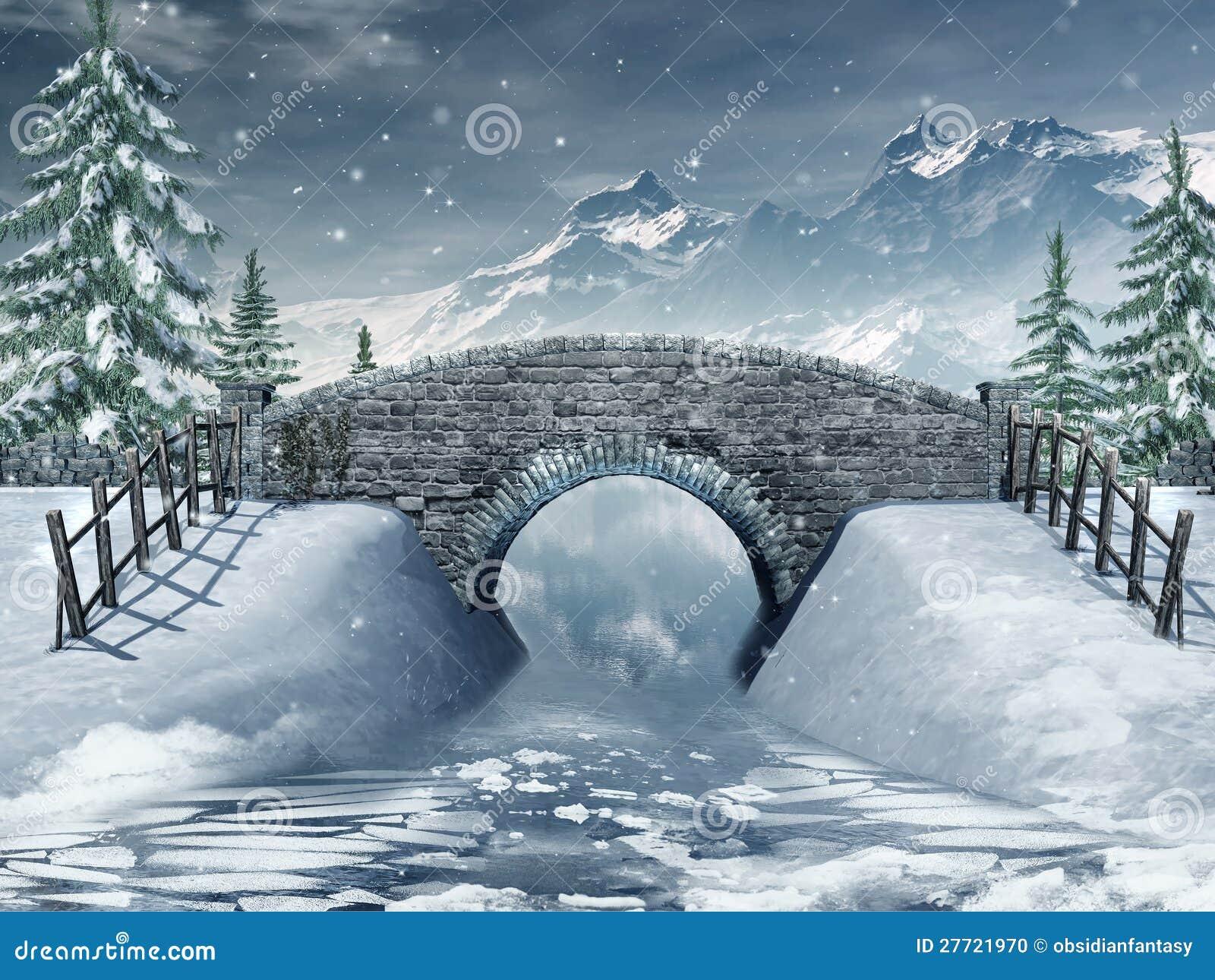 Мост над замороженным рекой