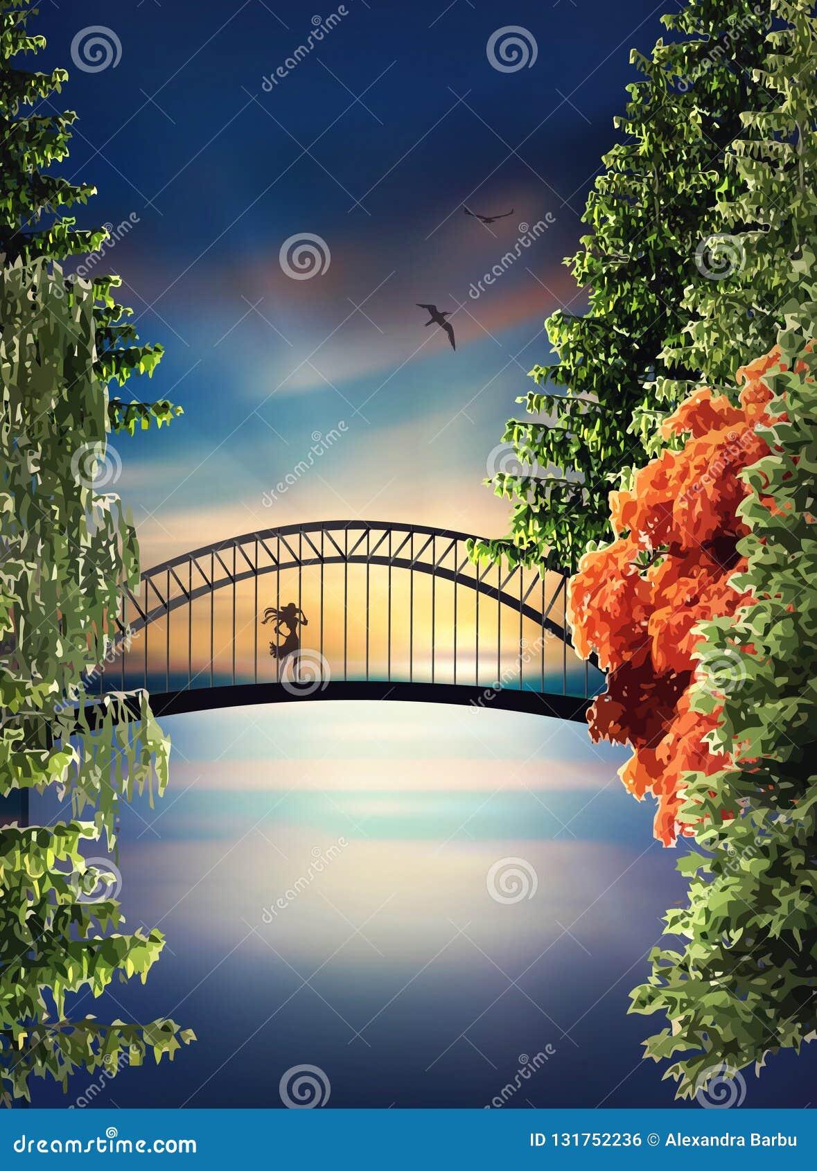 Мост над озером на заходе солнца