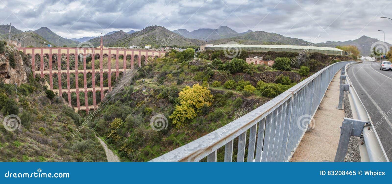 Мост орла в Nerja, Малаге панорамно
