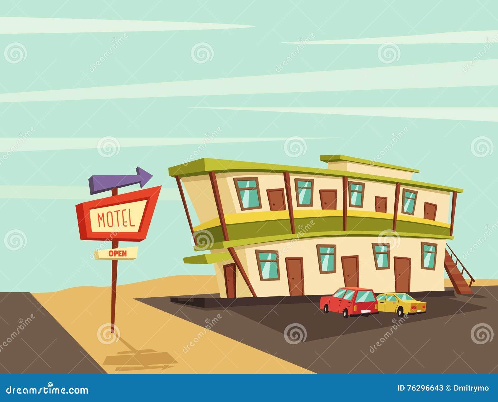Мотель в пустыне старый signboard иллюстрация мальчика неудовлетворенная шаржем меньший вектор