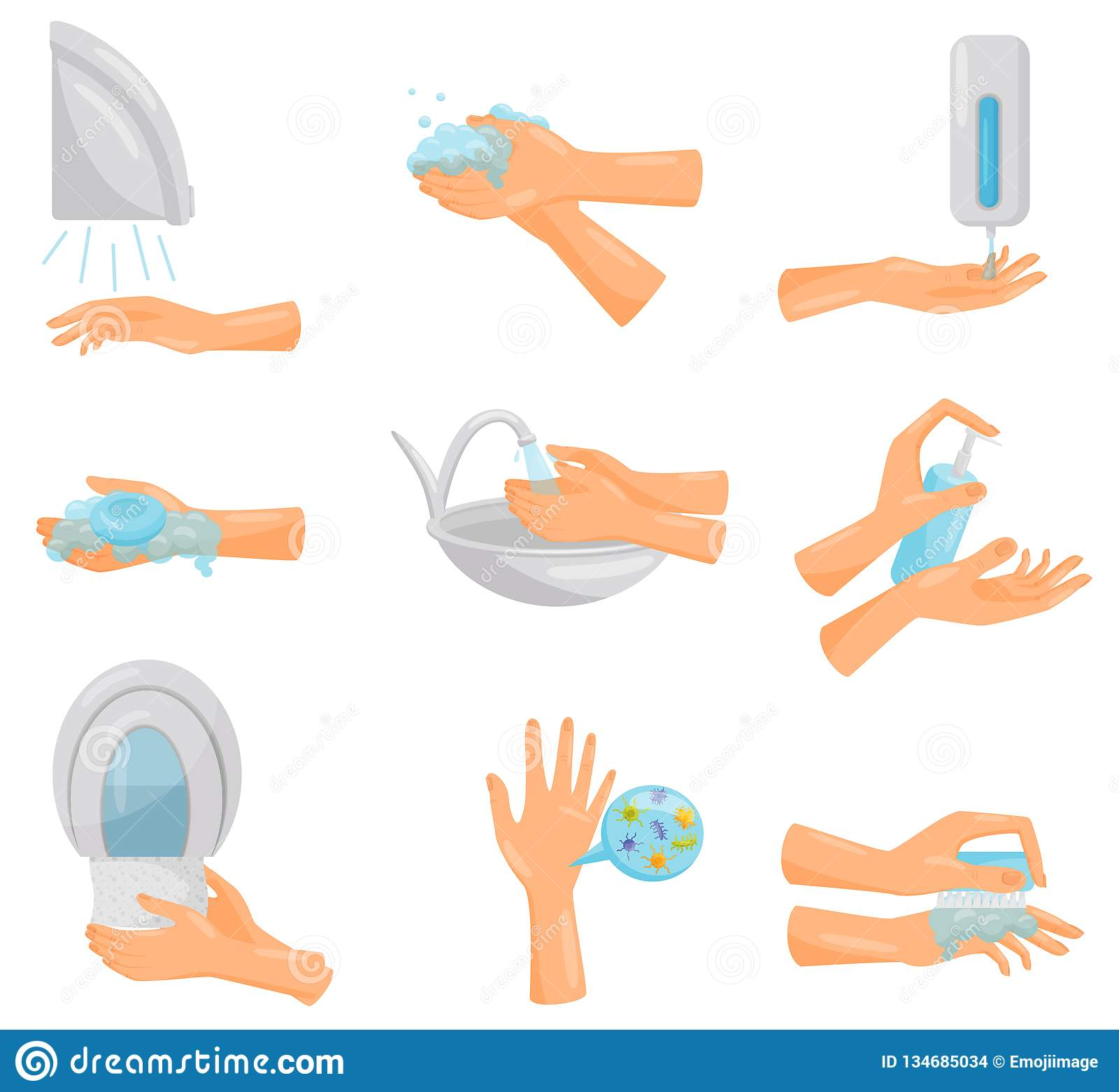 Моя набор рук постепенный, гигиена, предохранение вектора инфекционных заболеваний, здравоохранения и санобработки