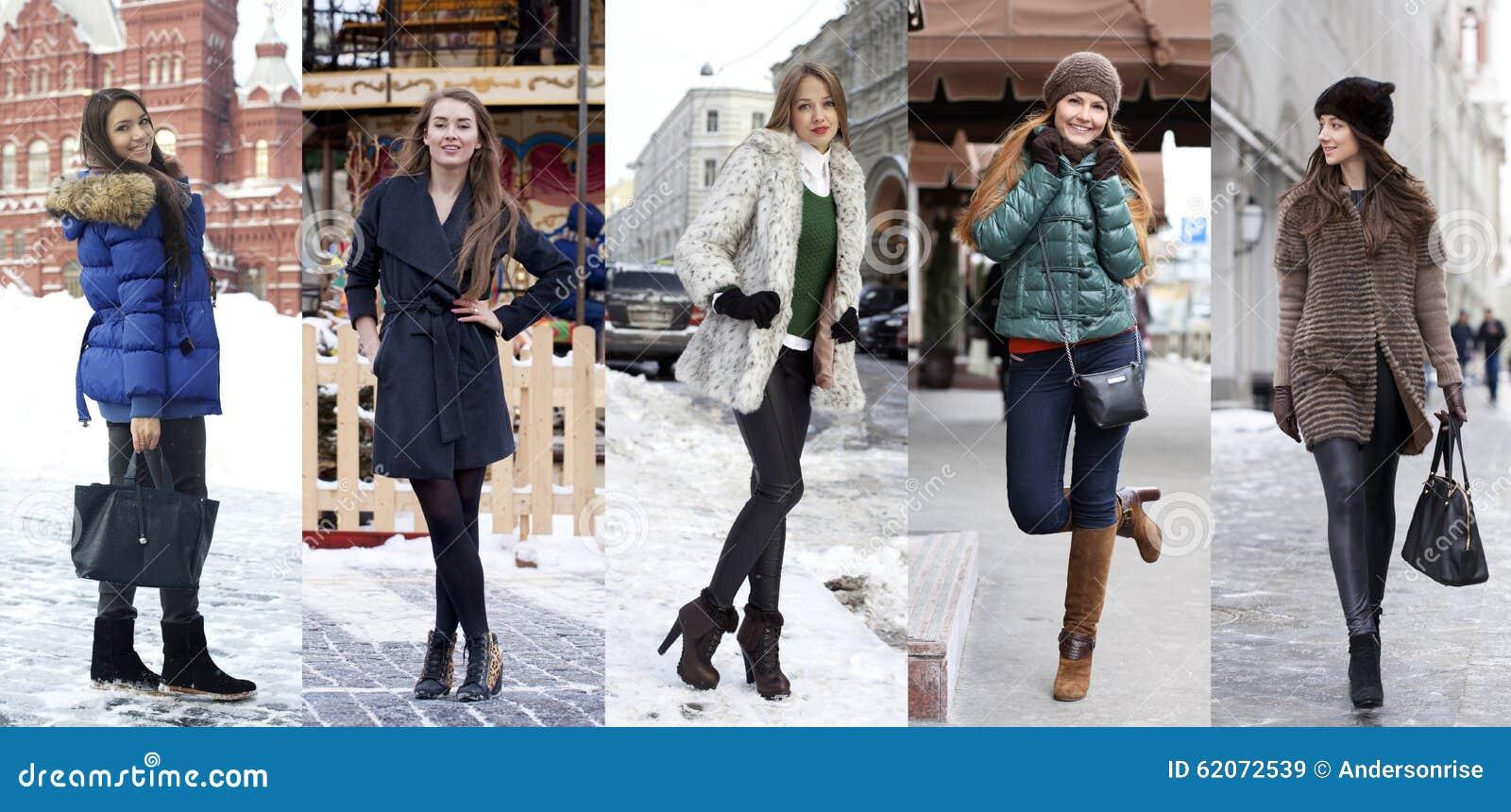 Мода зимы коллажа красивейшие женщины молодые