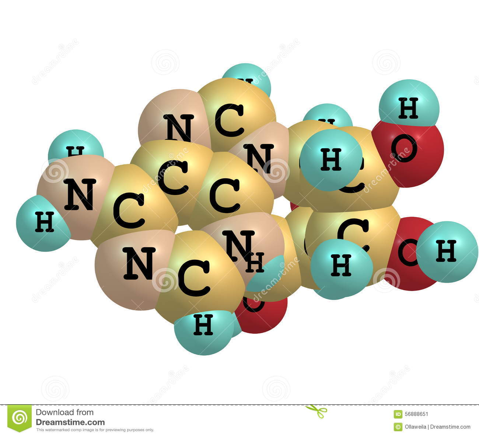 Молекула аденозина изолированная на белизне