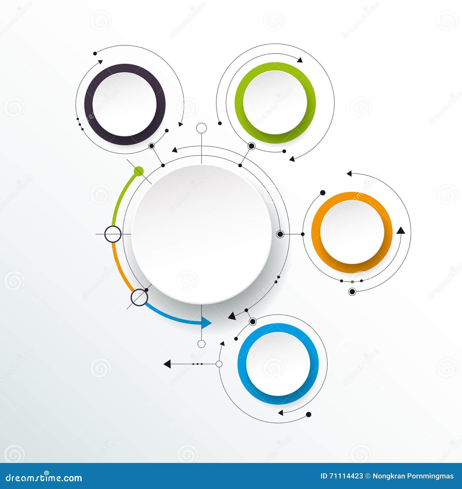 Молекулы с ярлыком бумаги 3D, интегрированные круги вектора абстрактные