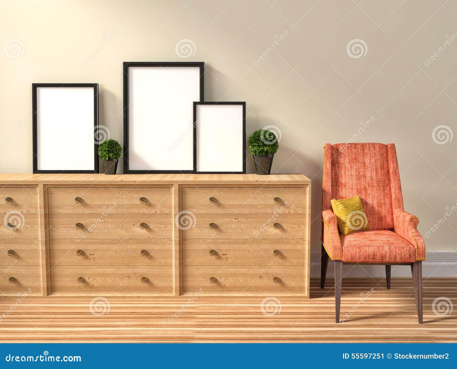 Модель-макет пробела 3 кадр плакат и стул иллюстрация 3d