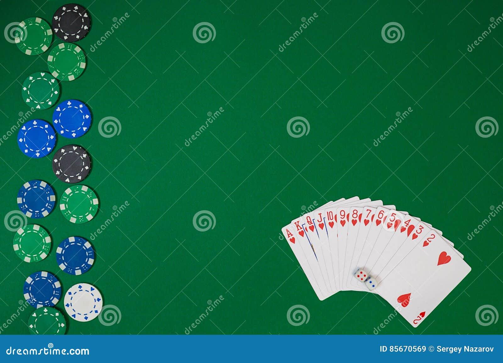 Модель-макет плана шаблона знамени для онлайн казино Зеленая таблица, взгляд сверху на рабочем месте