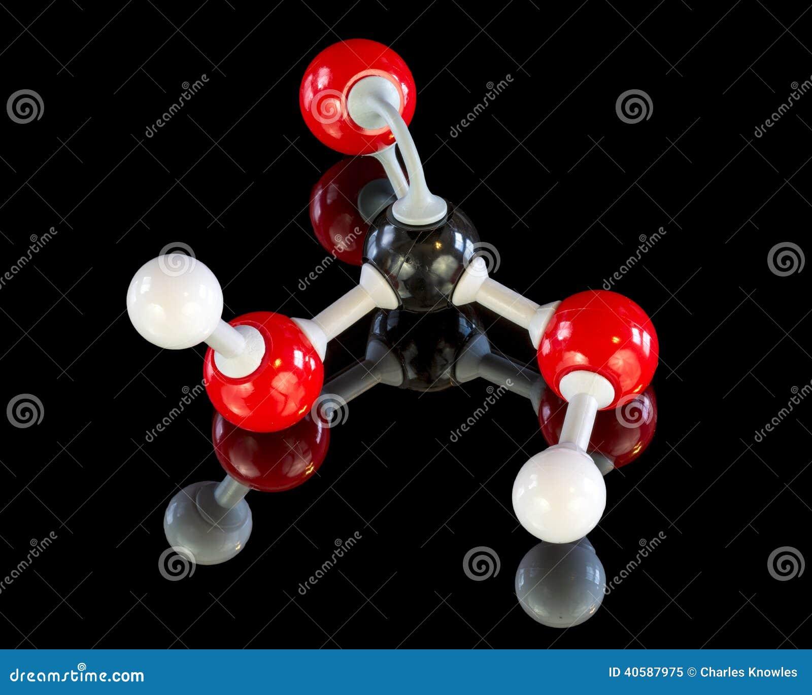 Модель образования молекулы угольной кислоты