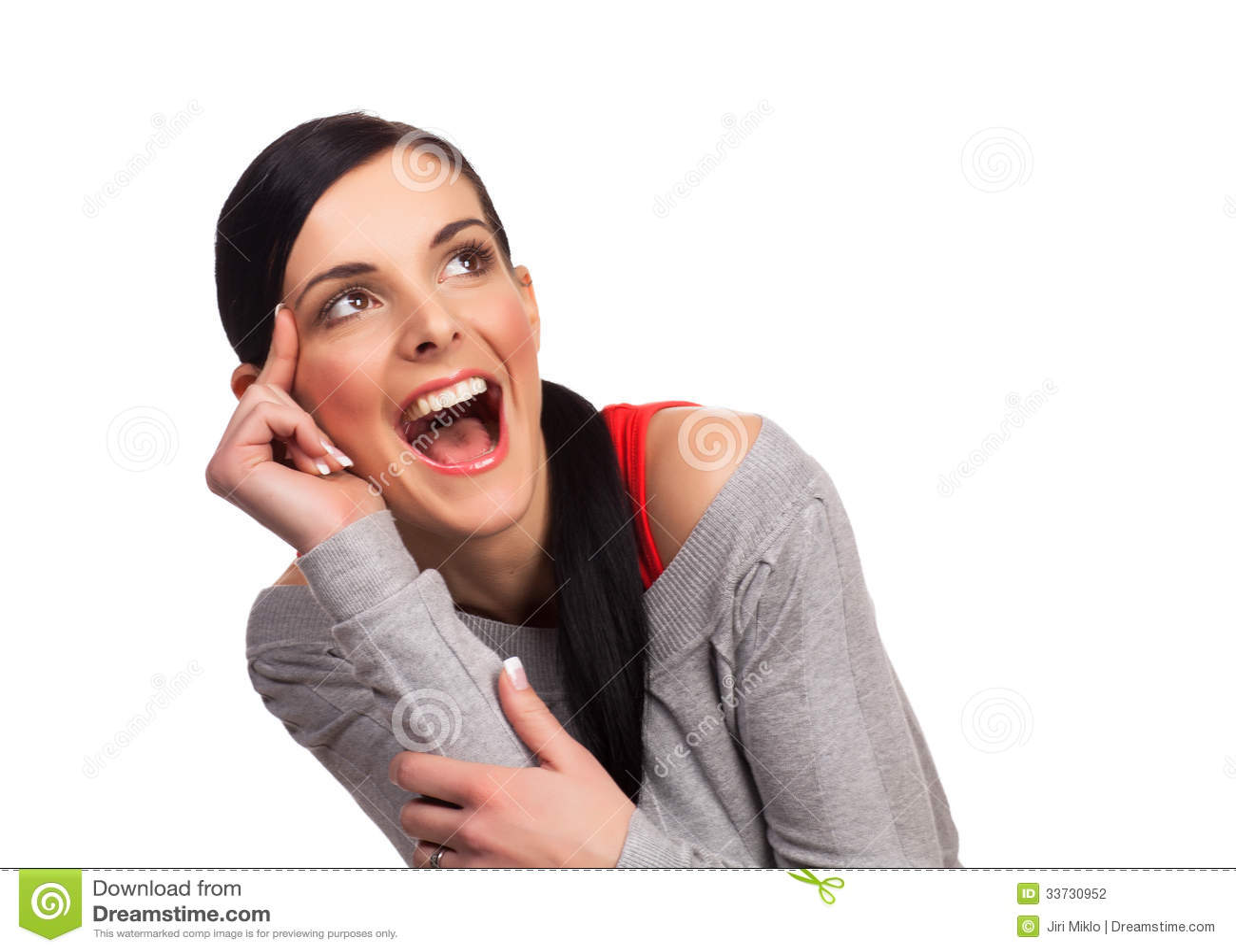 Молодая женщина выражая изолированное счастье