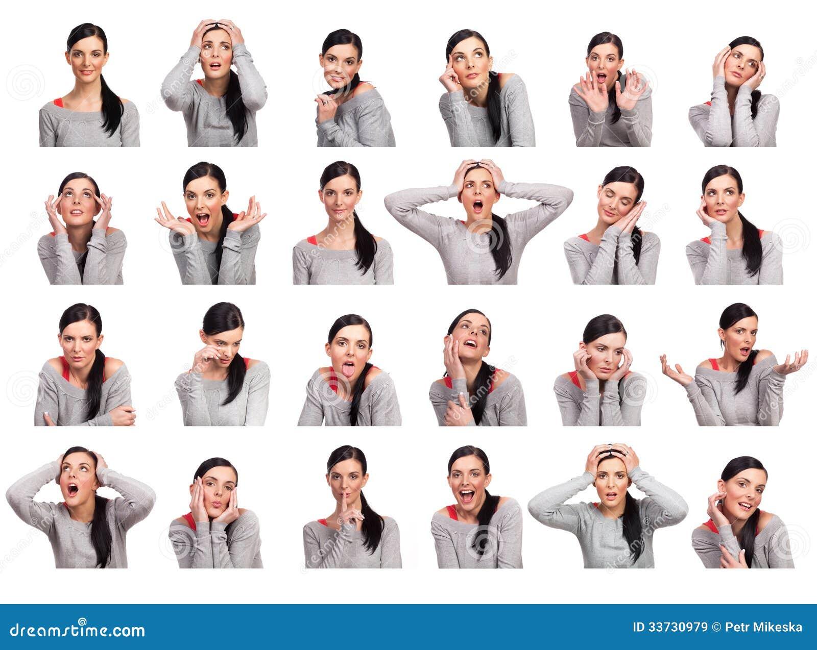Молодая женщина показывая несколько изолированных выражений,