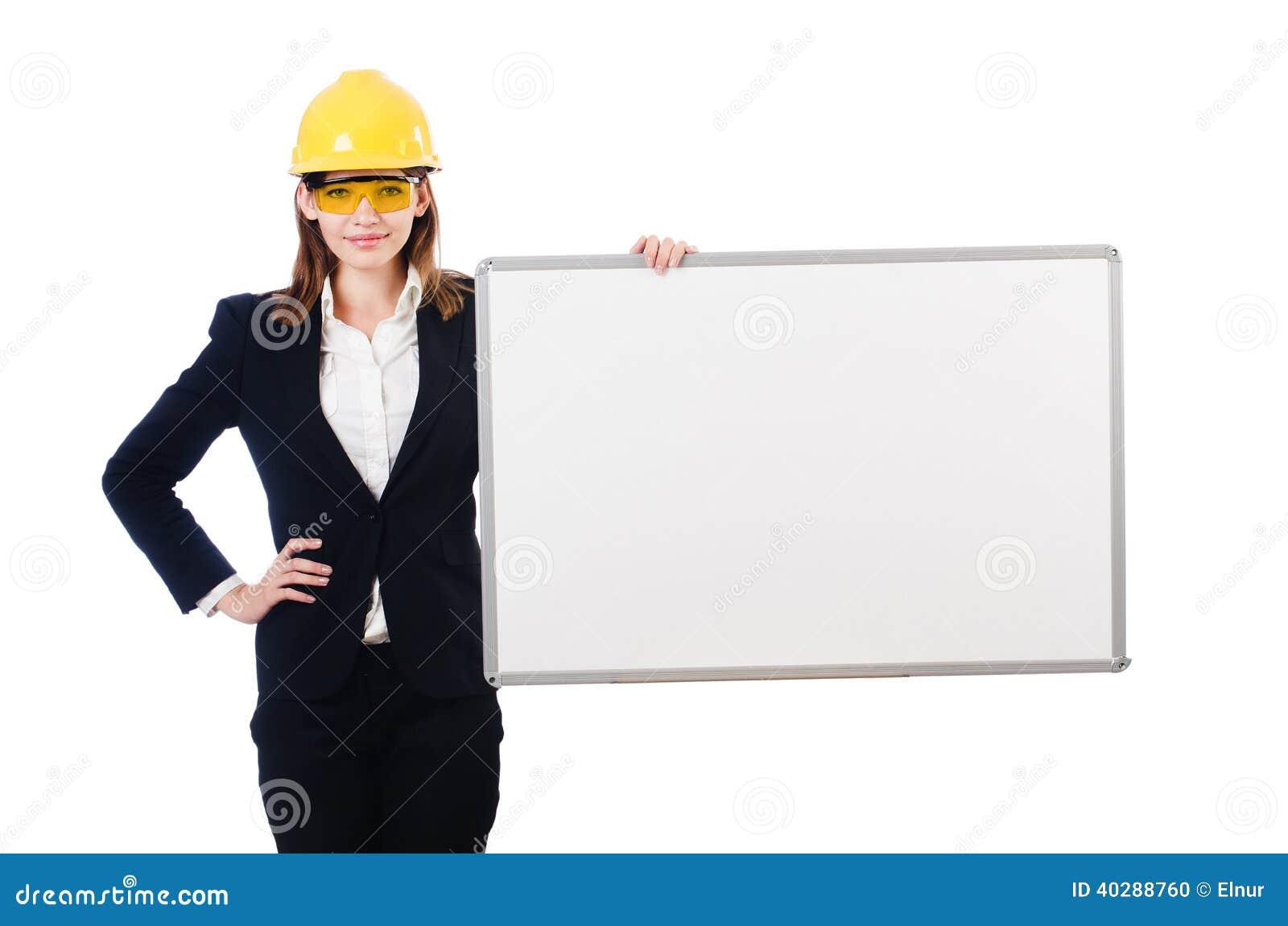 Молодая женщина построителя