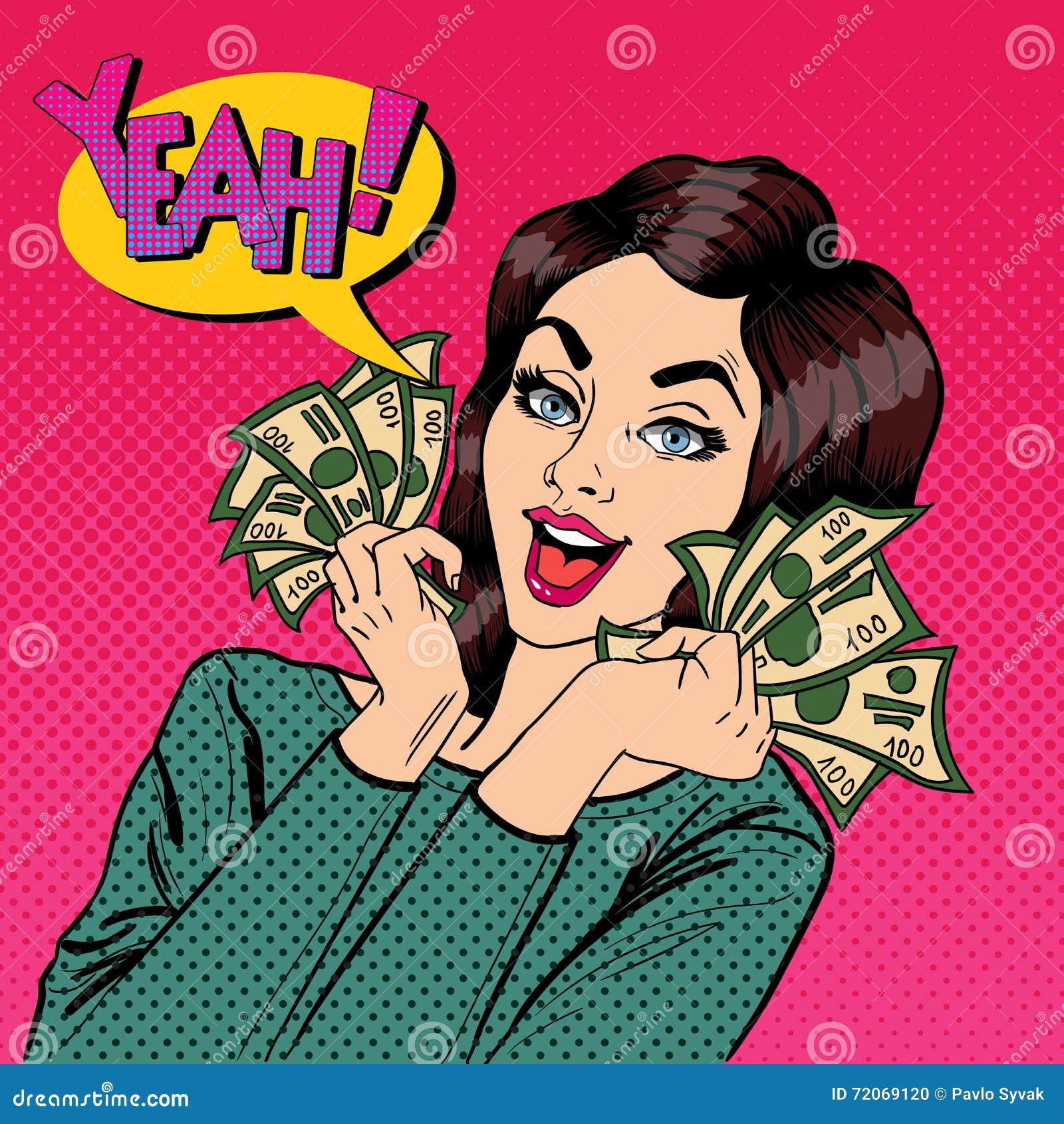 Молодая коммерсантка держа наличные деньги Женщина с долларами в ее руке