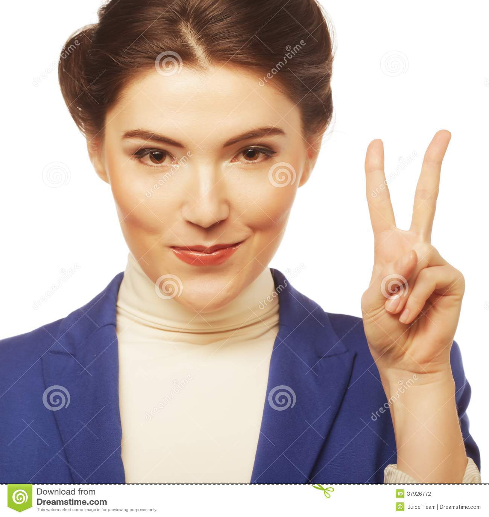 Молодая коммерсантка показывая знак i победы