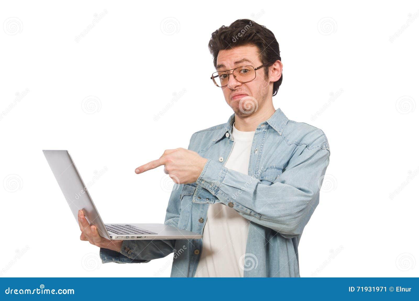 Молодой студент при компьтер-книжка изолированная на белизне