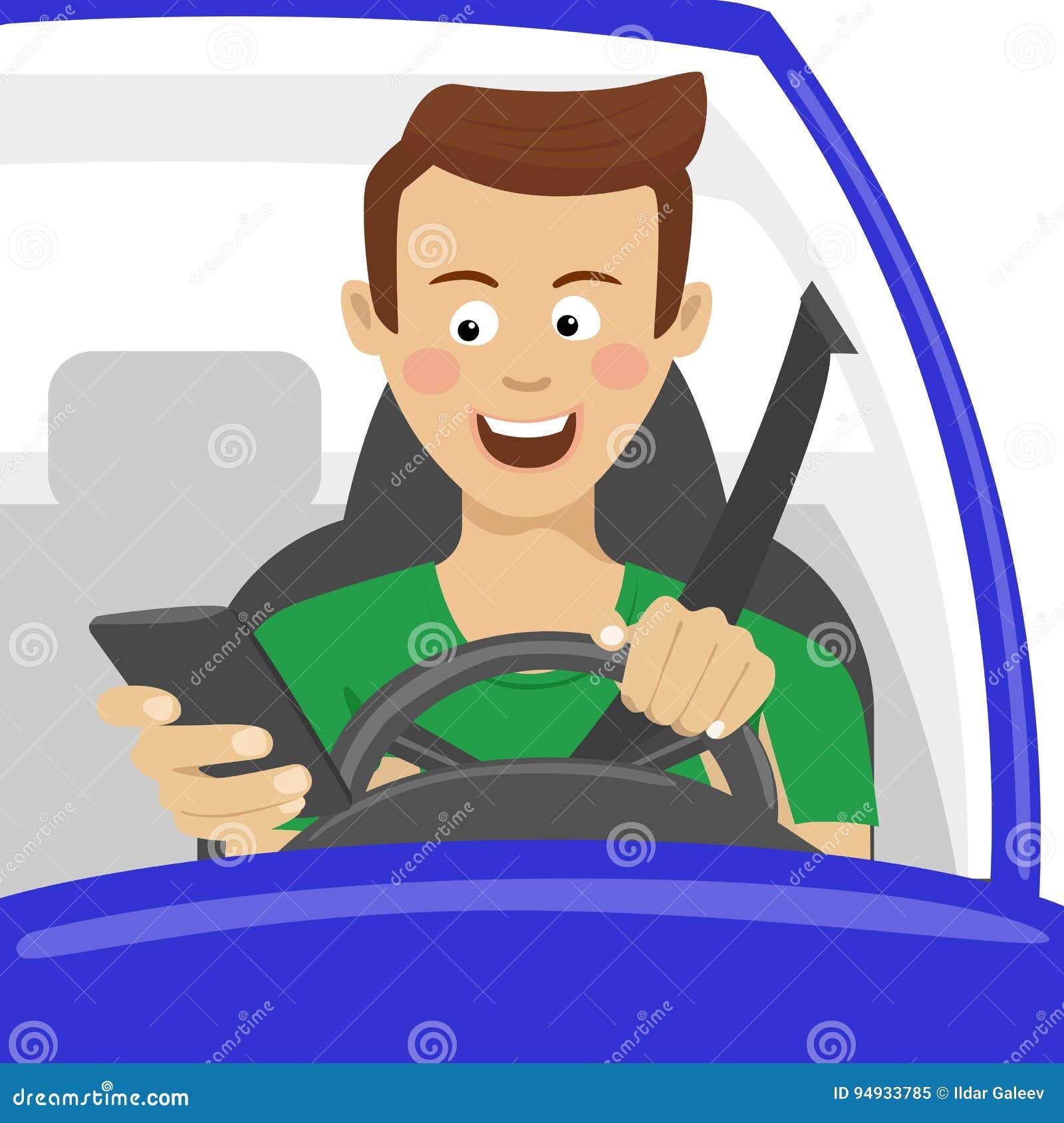 Молодой человек используя его smartphone за колесом Концепция опасности наркомании проблемы