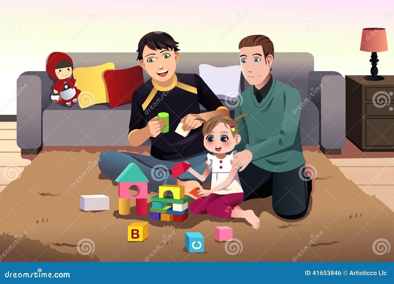 Молодые родители гомосексуалиста играя с их ребенк
