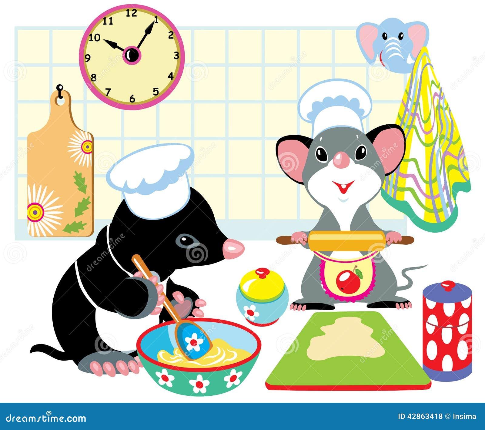 Моль и мышь подготавливая тесто