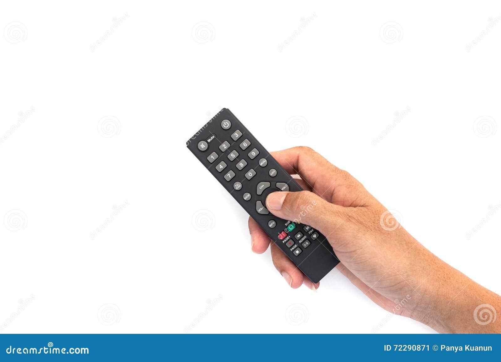 Download Мужская рука держа верхнее дистанционное управление ТВ коробки на белом ба Стоковое Изображение - изображение насчитывающей рука, сила: 72290871
