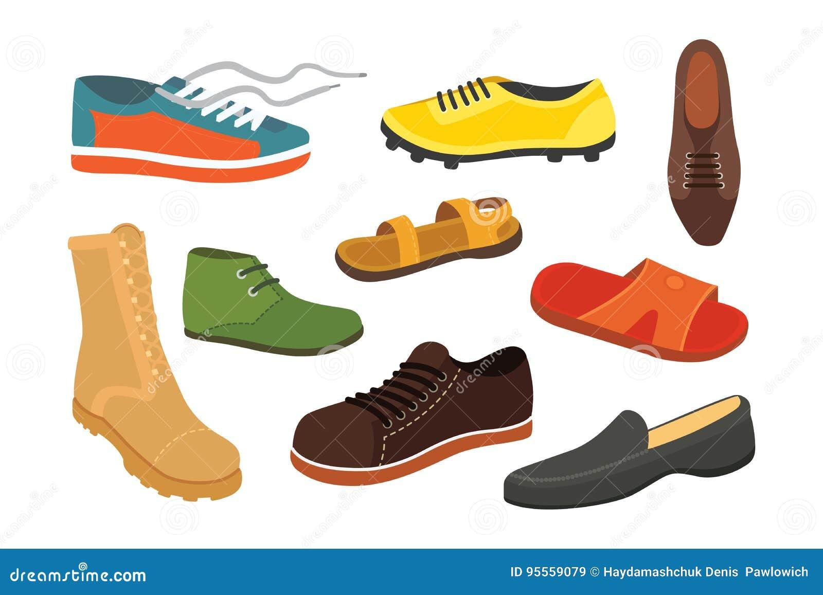 Мужские ботинки сезона человека в плоском стиле Иллюстрация вектора людей изолированная ботинками установленная